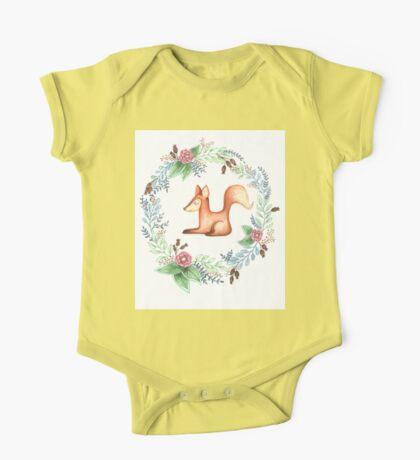 Floral Red Fox One Piece - Short Sleeve