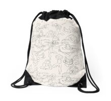 Yoga Manuscript Drawstring Bag