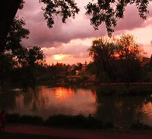 Sunset on the pond  Monument Valley Park CS, CO by dfrahm