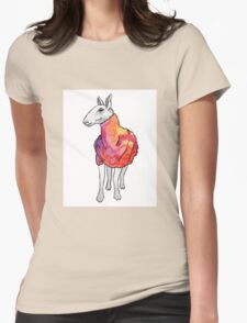 Psychedelic sheep: Blue Faced Leicester, red/violet Womens Fitted T-Shirt