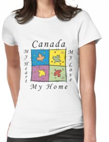"""Canadian """"Canada My Home My Heart..."""" Womens Fitted T-Shirt"""