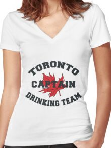 "Toronto Canada ""Drinking Team Captain"" Women's Fitted V-Neck T-Shirt"