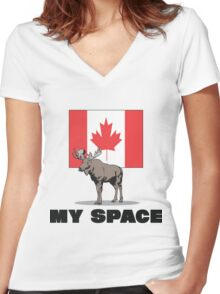 "Canada ""MY SPACE"" Women's Fitted V-Neck T-Shirt"