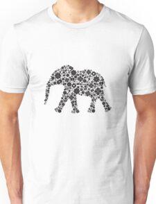 Flower Elephant:Black  Unisex T-Shirt
