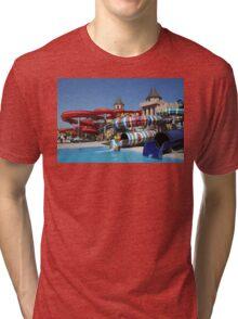 Water slide in Sunny Beach Aqua park, Bulgaria Tri-blend T-Shirt