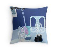 4 Zebras on Table Throw Pillow