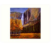 Aspens and Yosemite Falls Art Print