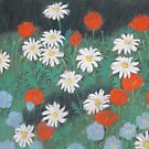 Cottage Garden - Daisies and Poppies by Susan Genge