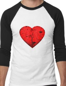 Blood Red Heart Men's Baseball ¾ T-Shirt