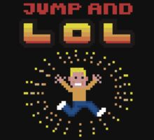 Jump and LOL - 8bit pixel arcade madness (4 Black Shirts) by fuxi