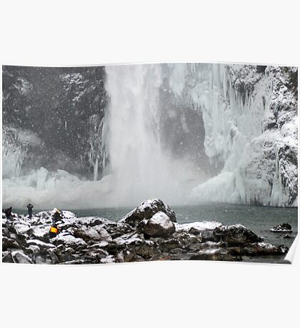 Snow Shower at Snoqualmie Falls Poster