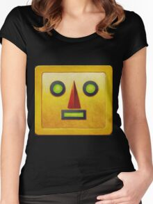 Yellow Robot Face Women's Fitted Scoop T-Shirt