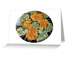 Nasturtiums - ceramic table top. Greeting Card