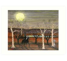 """""""Frightened Ned""""  Original Sold;  This painting has been Published in the Australian Artist's Palette Magazine 21/Jan/2010 Art Print"""