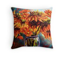 Sunflowers and Daisies Throw Pillow