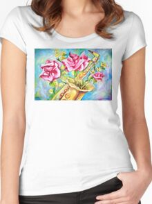 BLOOMING SAX Women's Fitted Scoop T-Shirt