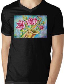 BLOOMING SAX Mens V-Neck T-Shirt
