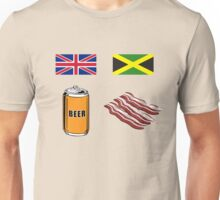 """English """"Beer-Can"""" = Jamaican """"Bacon"""" Unisex T-Shirt"""