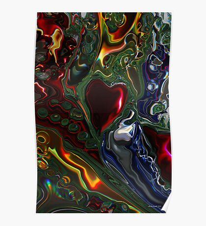 Christmas Tree Heart Abstract  Poster