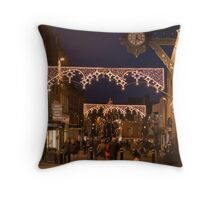 Christmas illuminations, High Street, Winchester, southern England Throw Pillow