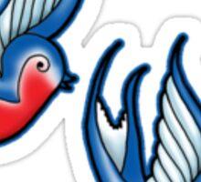 Rockabilly Swallow tattoo pattern - Sky blue Sticker