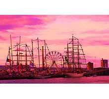 Tall ships in a red sunset Photographic Print