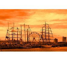 Tall Ships in an Orange Sunset Photographic Print