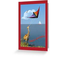 Three-week-old Sandhill Crane Flying a Kite Greeting Card