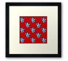 Rockabilly swallow tattoo pattern - Red Framed Print