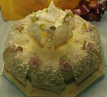 Chiffon Butterfly Wedding Cake by catwoman123
