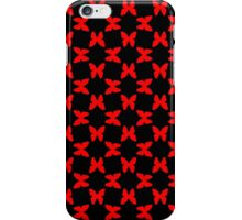 Red Random Butterflies on Black iPhone Case/Skin