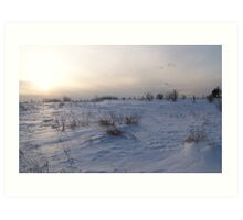 A Winter Snow Scene in Maine Art Print