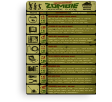 Zombie Defense Guide - Outbreak Emergency Poster! Canvas Print