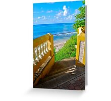 golden staircase to the Caribbean Sea Greeting Card