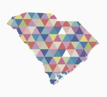 South Carolina Colorful Hipster Geometric Triangles by CorrieJacobs