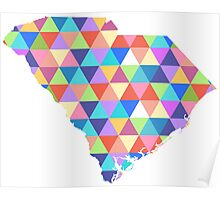 South Carolina Colorful Hipster Geometric Triangles Poster