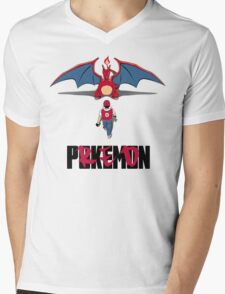 Pokémon Champion Red Mens V-Neck T-Shirt