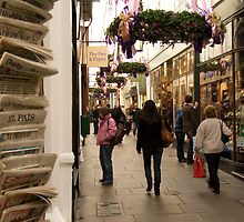 Shopping arcade in Cardiff at Christmastime by Christopher Ware