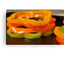 Stacked Peppers- Assorted Peppers Stacked Canvas Print