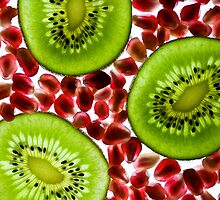 Kiwi and pomegranate by Rachael Talibart