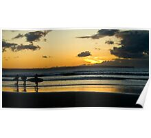 Surfing at Sunset, Croyde Bay Poster