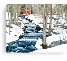 Waterfall cascading down snowy slope. New England winter scene Metal Print
