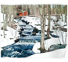 Waterfall cascading down snowy slope. New England winter scene Poster