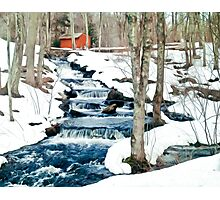 Waterfall cascading down snowy slope. New England winter scene Photographic Print