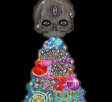 Make Art Not Barf Skull Rainbow Galaxy Illustration by ART AGAINST SOCIETY by Cali Vasaturo