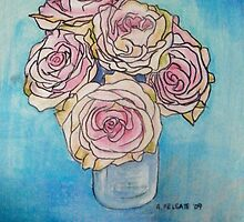 Pink Roses in a Glass Vase II by Alexandra Felgate