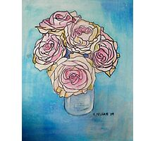 Pink Roses in a Glass Vase II Photographic Print
