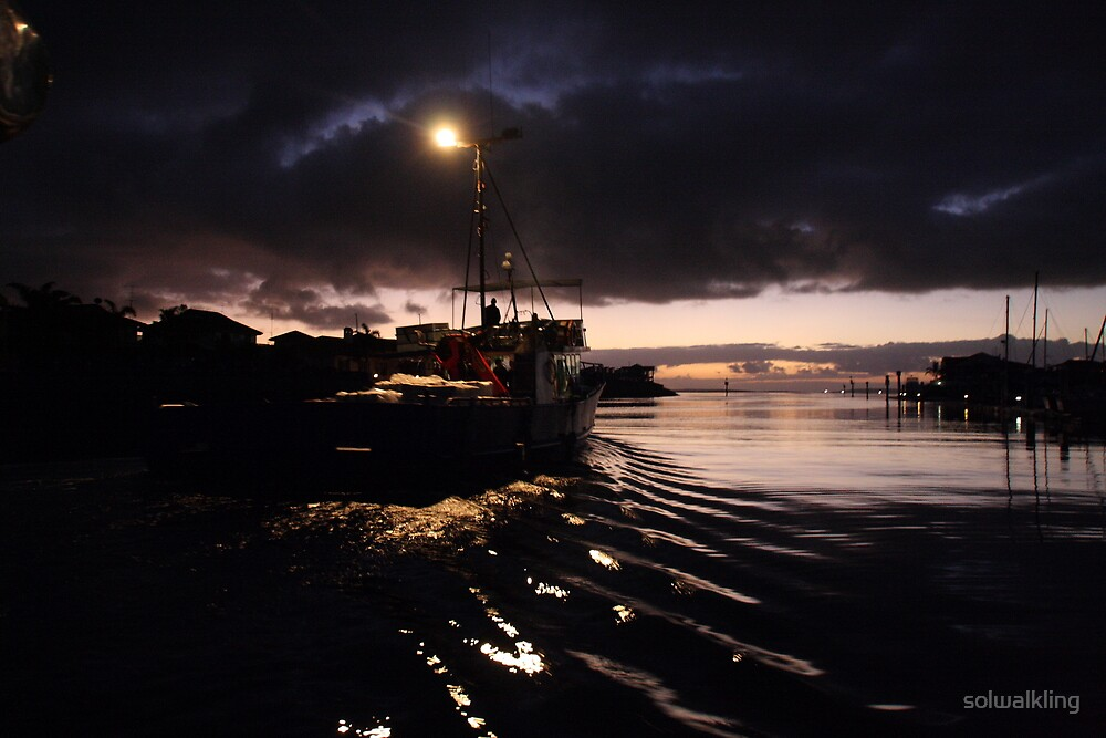 Fishing trawler leaving Port Lincoln on the Eyre Peninsula at dawn by solwalkling