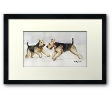 Tis the Season to be Jolly Airedale Watercolor Painting Framed Print
