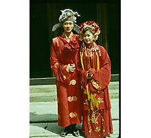 Bride & Groom pose obligingly for tourists. Photographic Print